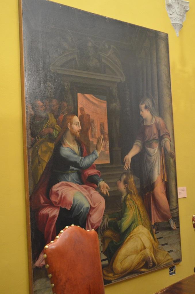 Quadro Cristo in casa di Marta e Maria di L. Fontana Quadreria Bologna